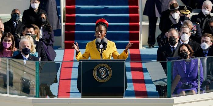 Amanda Gorman via https://www.businessinsider.com/read-amanda-gorman-poem-biden-inauguration-2021-1